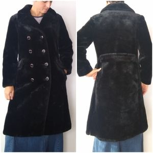Black fur double breasted trench coat
